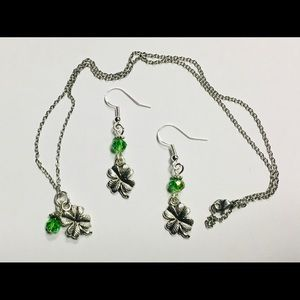 Shamrock 4 leaf clover necklace and earring set